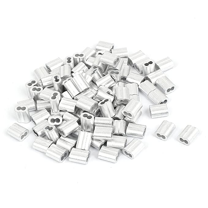 Steel Wire Rope Button Stop Clips Cable Ferrules 20 Pcs 1//8 in uxcell M3 Aluminum Sleeve Single Tube Crimp 3mm