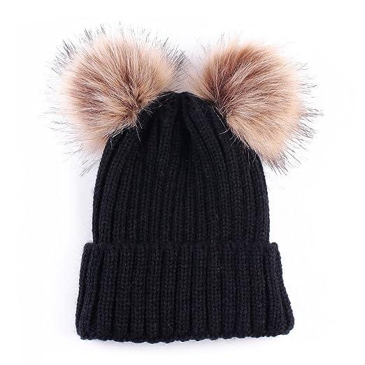 Baby Winter Warm Hat, Baby Newborn Knit Hat Infant Toddler Kid Crochet Hat Beanie Cap (Black)