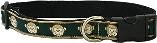 "product image for Monkey Pattern Canvas Hemp Dog Collar (3/4"" Medium, Emerald)"