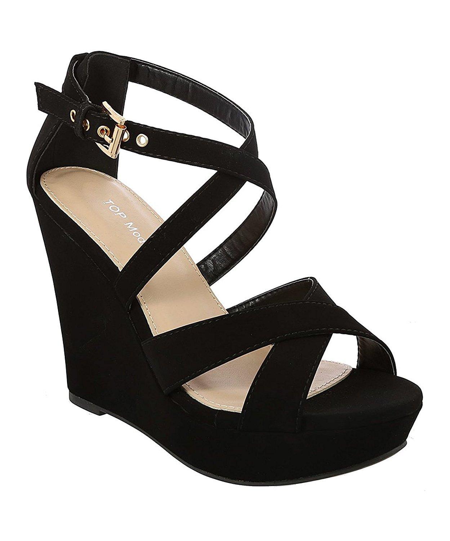 Top Moda Beyond-1 Women's Crisscrossing Straps Wedge Sandals B07DFLM97J 8.5 M US|Black