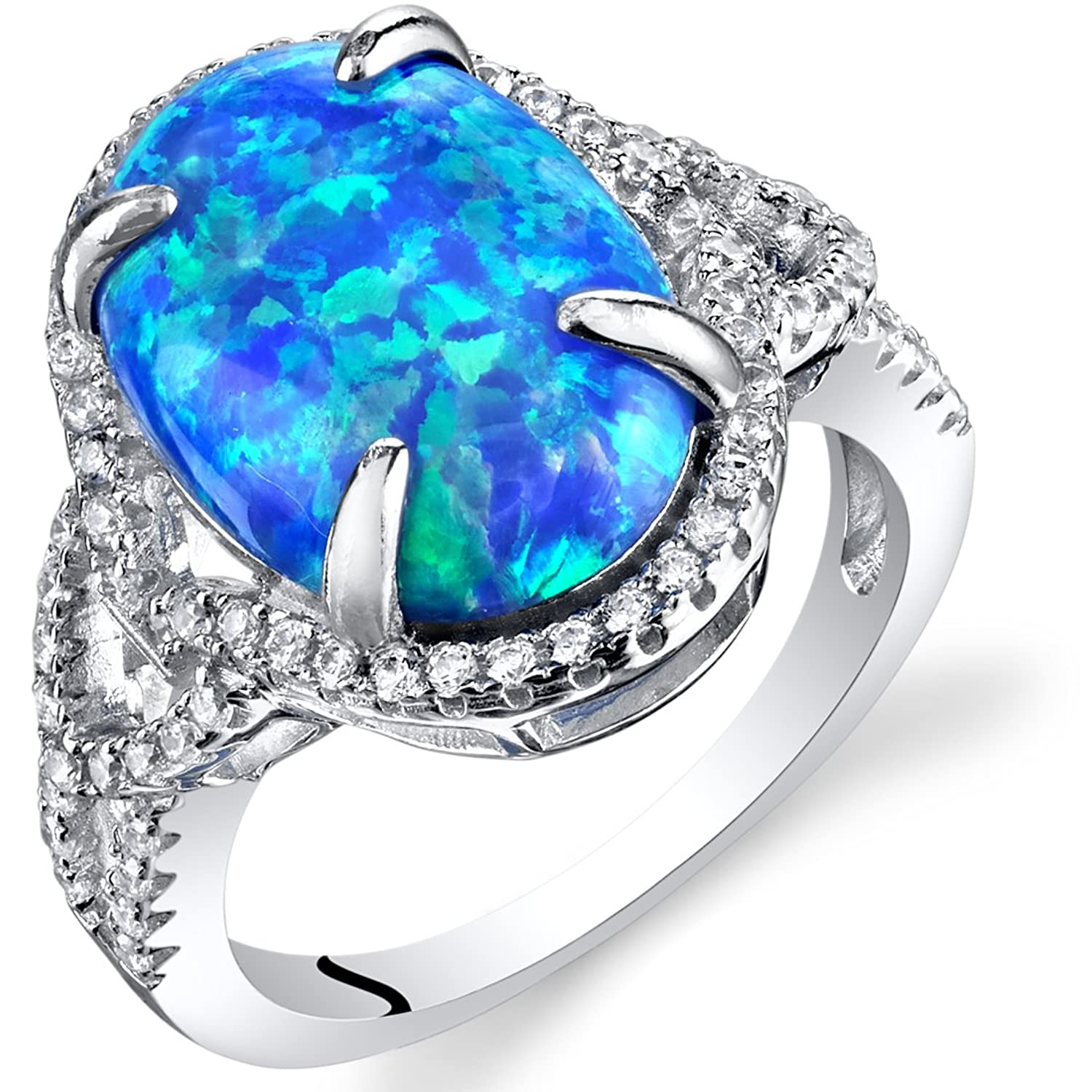 Created Blue Opal Halo Ring Sterling Silver 2.25 Carats Sizes 5 to 9