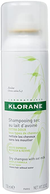 Klorane Dry Shampoo with Oat Milk, Ultra-Gentle, All Hair Types, No White Residue, Paraben & Sulfate-Free, 3.2 oz. Best Dry Shampoo