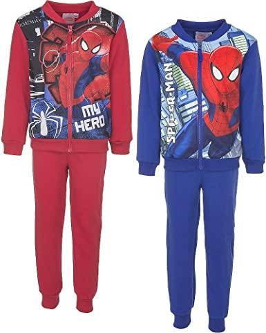 Spiderman Jogger Set Pants and Sweat with Zip Red