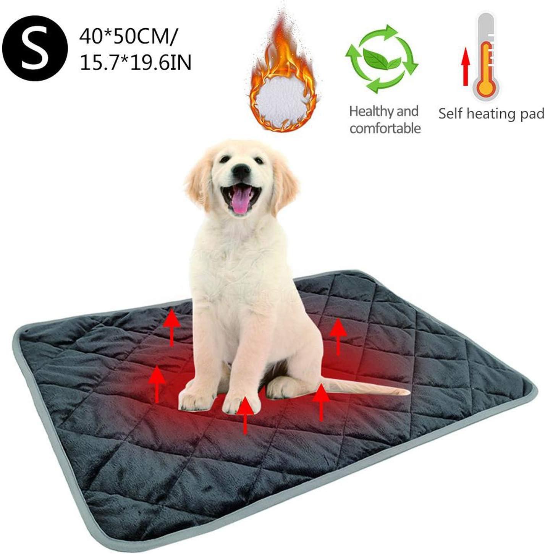 Gato Perro caliente mascotas Cuenta Calefacción Pads Invierno Manta suave y cómodo para mascotas térmicas Mats lavable almohada para los sillones Plantas camas para mascotas, gris, L 58x88cm