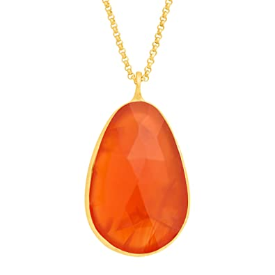 Amazon piara 14 ct natural carnelian pendant necklace in 18k piara 14 ct natural carnelian pendant necklace in 18k gold plated sterling silver aloadofball Choice Image