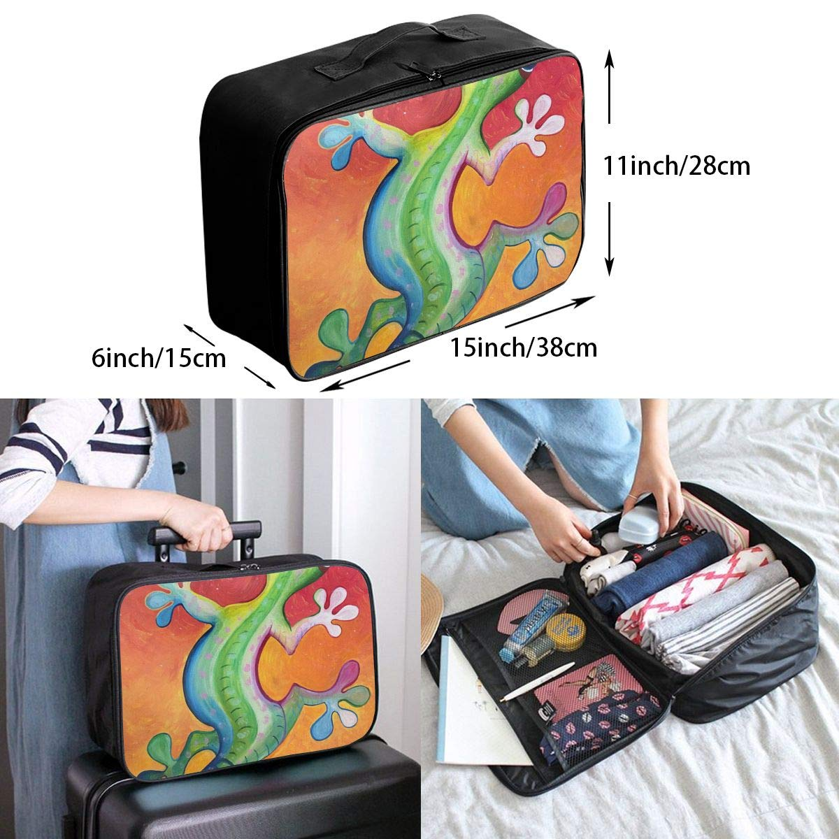 Travel Luggage Duffle Bag Lightweight Portable Handbag Gecko Oil Painting Large Capacity Waterproof Foldable Storage Tote
