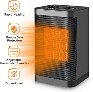 Space Heater Electric Portable Heaters - Merece 1500W PTC Space Heaters for Indoor Use Home Office Bedroom Garage with Thermostat, Small Desk Room Heater 3 Modes with Tip-Over and Overheat Auto Off