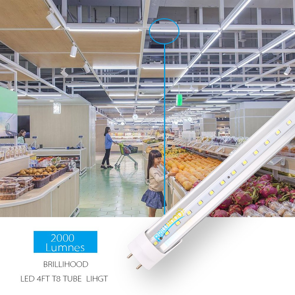 Brillihood T8 LED Shop Light Tube, 4FT, 18w (40W equivalent), Dual-End Powered, 6000K Cool White, 2000 Lumens, Clear Cover Lens, T8 T10 T12 Fluorescent Bulbs Replacement, (Pack of 10) by Brillihood (Image #6)