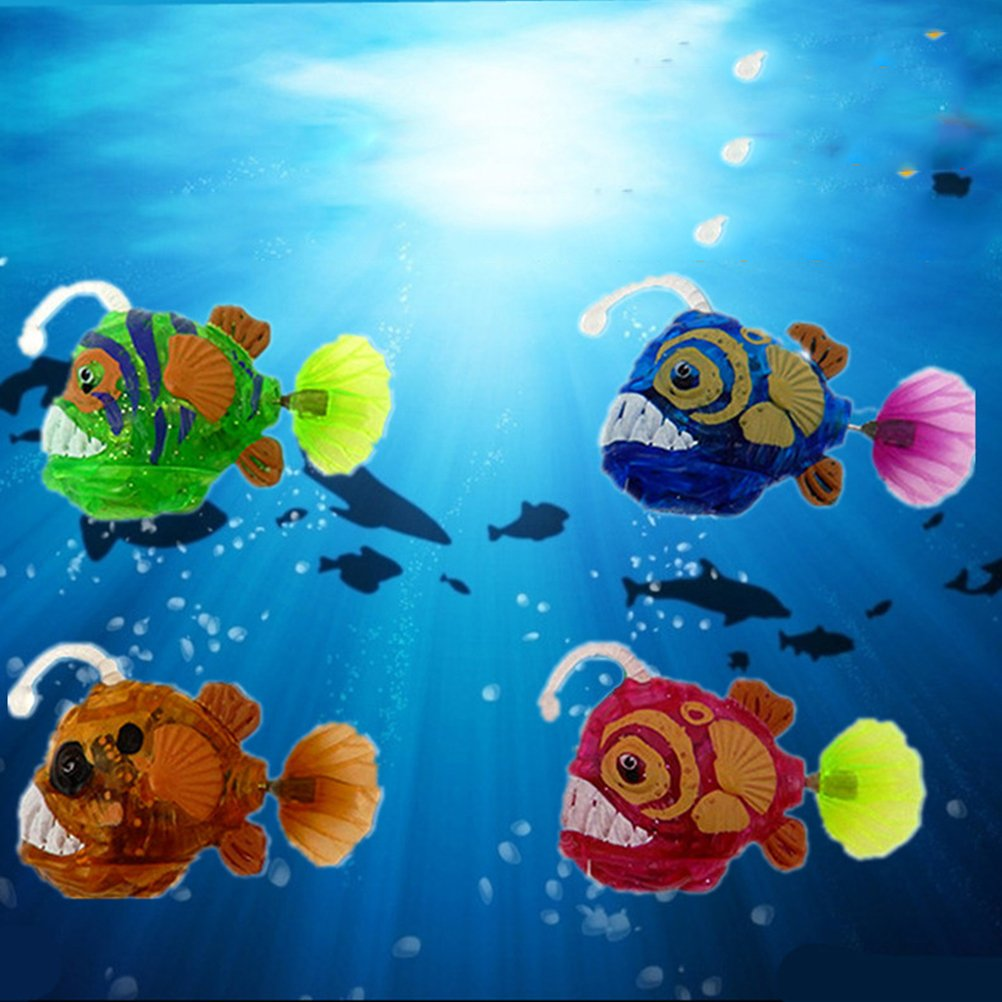 TOYMYTOY 4pcs bebé baño peces juguetes realistas de plástico realista movimiento artificial flotante luz peces para el baño del niño tiempo: Amazon.es: ...