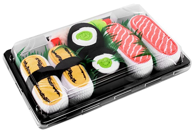 SUSHI SOCKS BOX 3 pairs Tamago Cucumber Salmon FUNNY GIFT! Made in Europe L