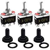 Twidec /3Pcs Heavy Duty Rocker Toggle Switch 16A 250V AC DPDT 3 Position 6 Pin ON/Off/ON Switch with Metal Bat Waterproof Boo