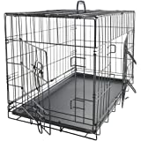 "Olymstore BLACK Pet Kennel 42"" for Cats Dogs Folding Steel Crate Animal Playpen Wire Metal Material with Double Doors and Plastic Tray Wet Proof Leak Proof Foldable Design (PTCG01-42)"