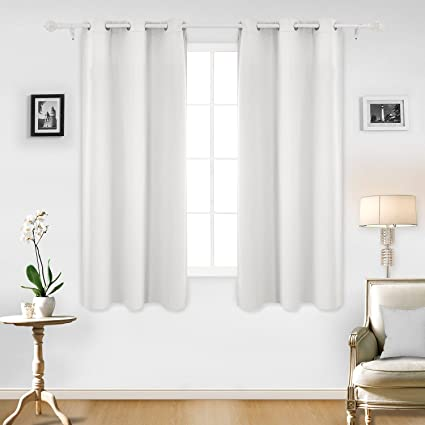 Deconovo Room Darkening Thermal Insulated Blackout Grommet Window Curtain  Panel For Living Room, Greyish White