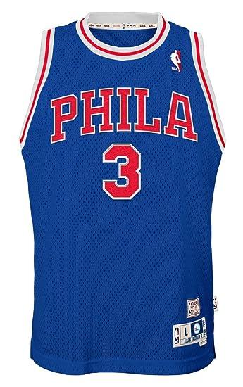 size 40 5373f ad054 Outerstuff Allen Iverson Philadelphia 76ers NBA Youth Throwback Swingman  Jersey - Blue