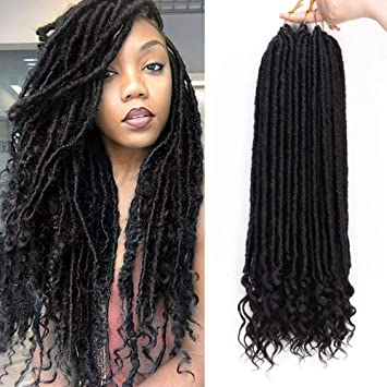 Aisi Beauty Goddess Locs Crochet Hair Braiding Pre Looped Faux Locs Crochet Hair With Curly Ends Synthetic Hair Extension For Black Women 6packs Lot
