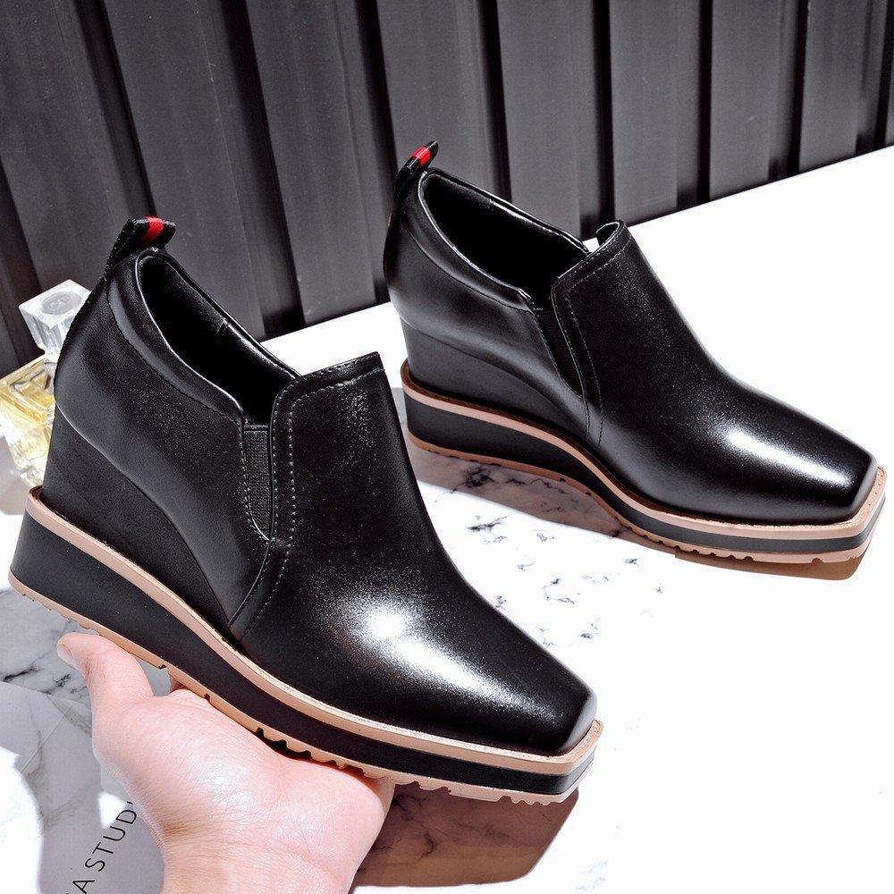 DIDIDD Frühjahr und Herbst High-End-Casual High-End-Casual High-End-Casual Schuhe Platz mit Tief Sitzenden Schuhen mit Stöckelschuhen Schwarz 34 90c7cf