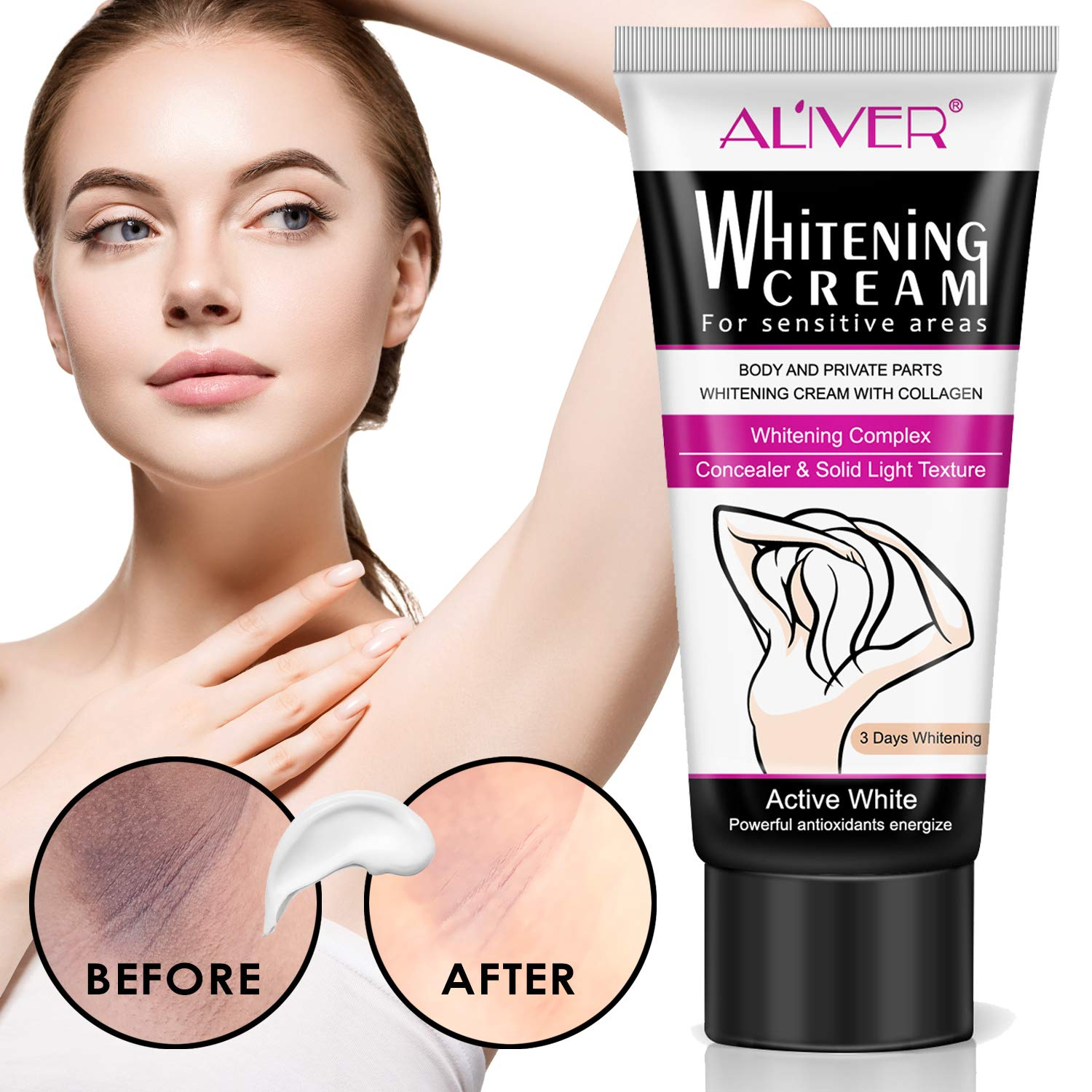 Underarm Whitening Cream,Lightening Cream Effective for Lightening & Brightening Armpit, Knees, Elbows, Sensitive & Private Areas, Whitens, Nourishes, Repairs & Restores Skin 60ml