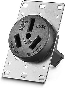 Aweking UL Listed 50 Amp 50A Power Receptacle Outlet NEMA 10-50R,Industrial Power,125 Volt,250 Volt,nema 10-50r Receptacle,Straight Blade,Flush Mounti