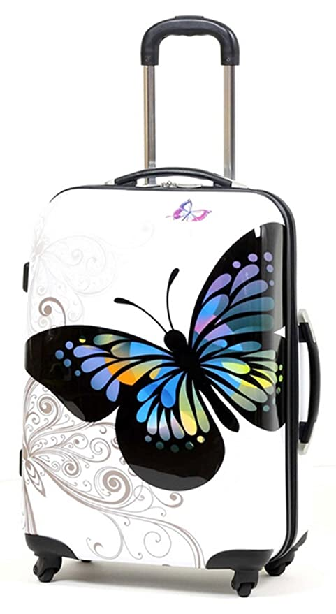 Valise rigide en carbone/polycarbonate case valise trolley papillon blanc taille m