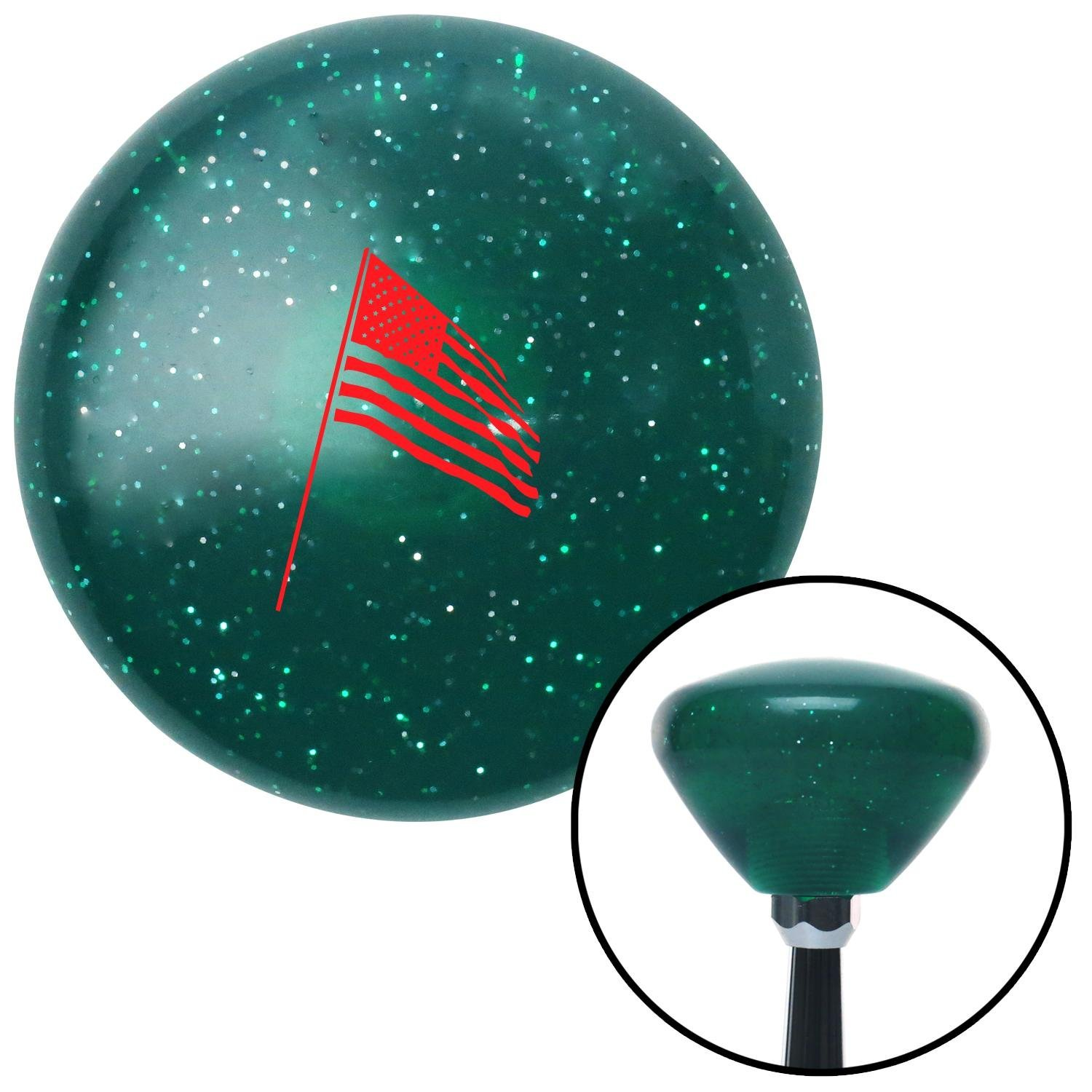 American Shifter 207469 Green Retro Metal Flake Shift Knob with M16 x 1.5 Insert Red American Flag Pole