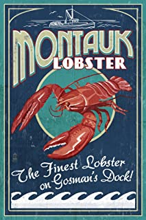 product image for Montauk, New York - Lobster Vintage Sign (12x18 Art Print, Wall Decor Travel Poster)