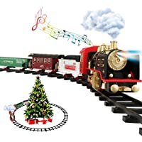Train Set - Electric Train Toys for Kids with Steam Locomotive Engine, Carriage, Cargo Car and Tracks, Battery Powered…