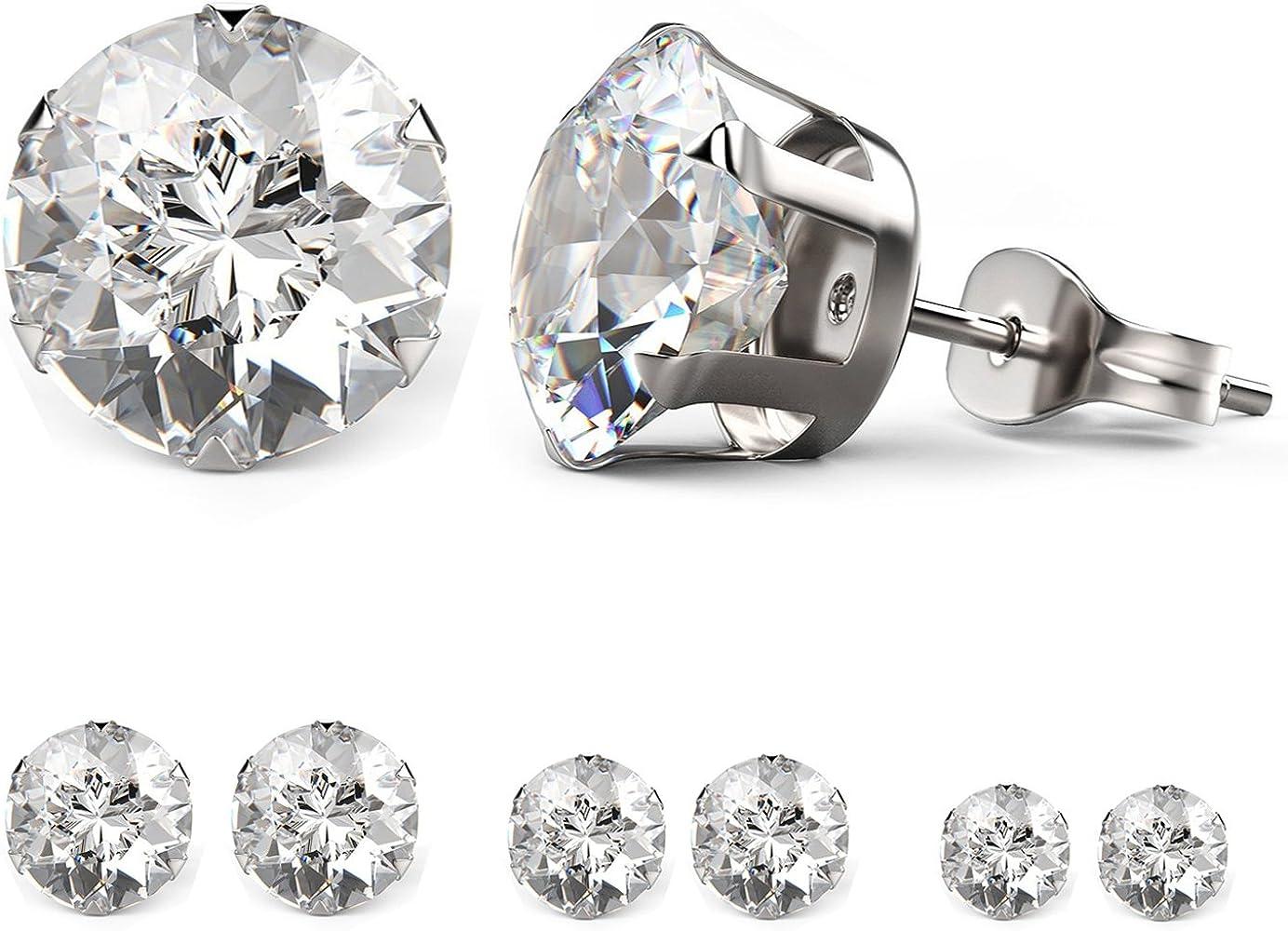 edcf62048 Besjewel Stud Earrings Set 3mm-5mm Hypoallergenic Surgical Stainless Steel  Earings For Women, 6