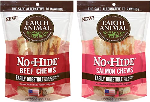 Earth Animal No-Hide Rawhide Beef Chews 4 2pk and No-Hide Rawhide Salmon Chews 4 2pk. 4 Chews Total. The Safe Alternative to Rawhide