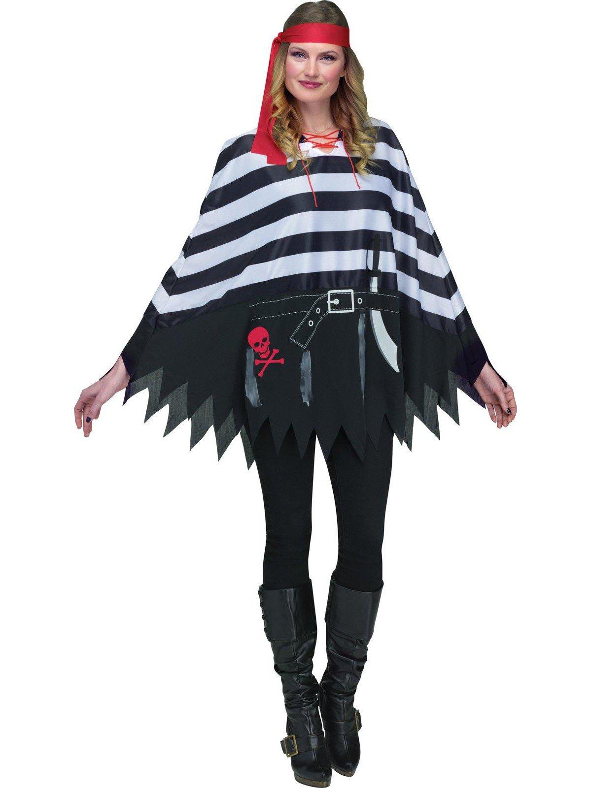 Fun World Women's Pirate Poncho Adlt, Multi, Standard