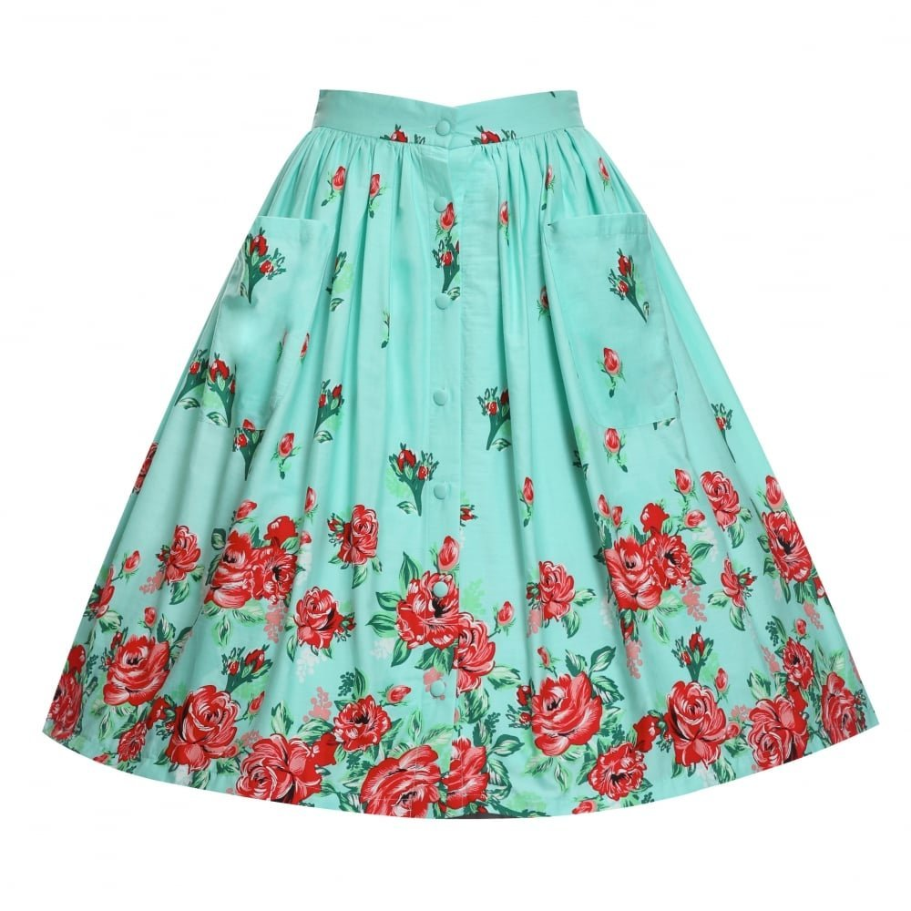 online here outlet boutique price reduced Lindy Bop 'Adalene' Mint Rose Print Swing Skirt (26): Amazon ...