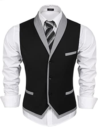 Coofandy Waistcoat Chaleco traje hombre Negro de Vestir Blazer sin ...