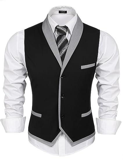 Coofandy Chaleco traje hombre de Vestir Blazer sin Mangas Casual