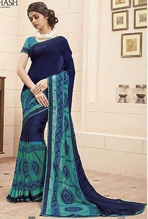 5a701c747fe37 Sudarshan Silks Subhash TUMHARI SULU Designer SAREE-Blue-SBW9128-MN-Georgette:  Amazon.co.uk: Clothing