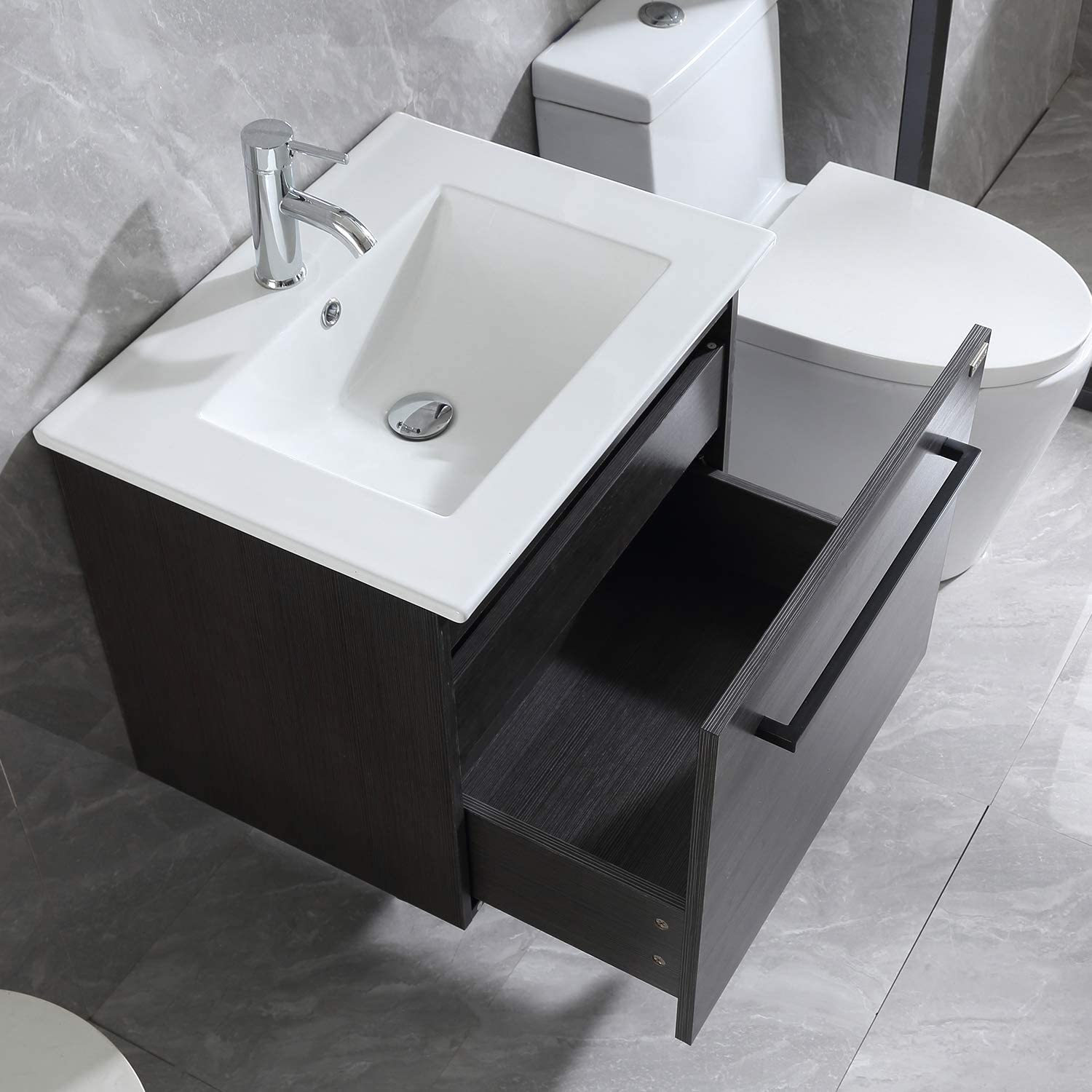 WONLINE 24 Bathroom Vanity Set Wall Mounted Cabinet with Sink Combo Chrome Faucet
