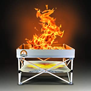 Pop-Up Fire Pit   Portable and Lightweight   Fullsize 24 Inch   Weight 8 lbs.   Never Rust Fire Pit   Included Heat Shield for Leave No Trace Fires (Pop-Up Fire Pit + Heat Shield)
