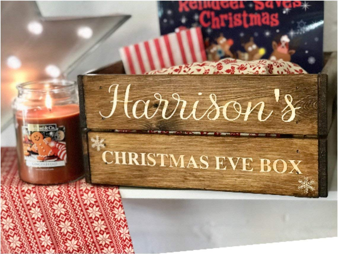 Christmas Crate Box.Solid Wood Children S Christmas Eve Box Rustic And Personalised Crate