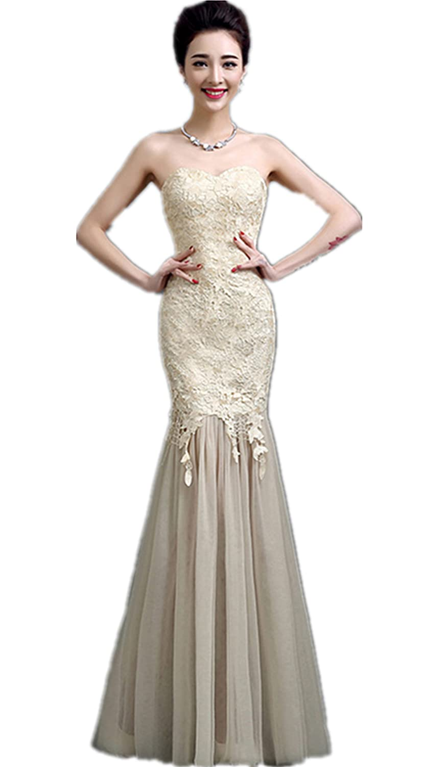 atopdress LL7 lace fishtail prom sequined gown evening dress party wear (8, Champagne): Amazon.co.uk: Clothing