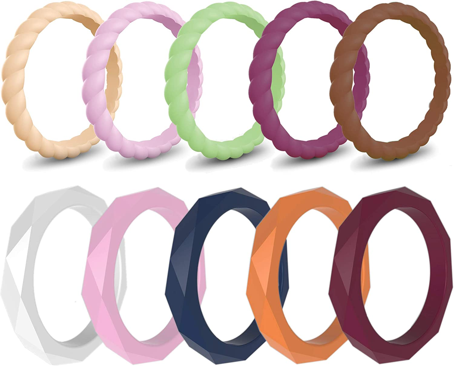 Founvar Silicone Wedding Ring for Women 10 Pack 3mm Wide Thin ...