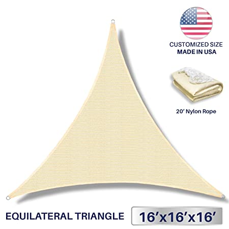 Windscreen4less 16 x 16 x 16 Sun Shade Sail Canopy in Beige with Commercial Grade 3 Year Warranty Customized