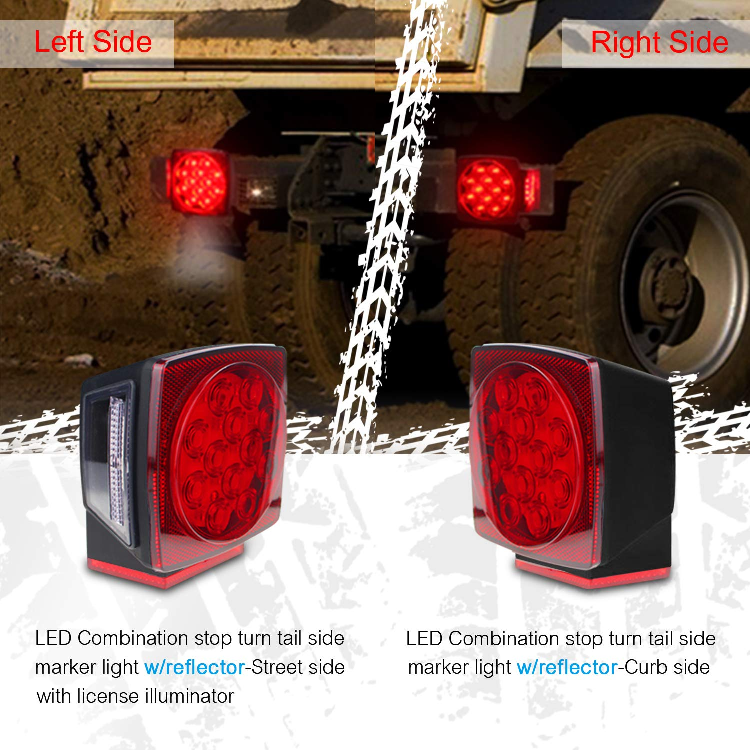 Nisuns Submersible Trailer Tail Lights Kit Waterproof 12v Led Wiring Marker With Harness Combination Brake