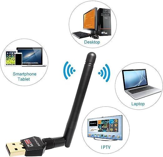 ANEWKODI Wifi USB AC600 Antena Wifi Dual Banda Velocidad Máxima Hasta 5 GHz o 2,4 GHz Adaptador Wifi Compatible con Windows 10/8.1/8/7/XP/Vista ...