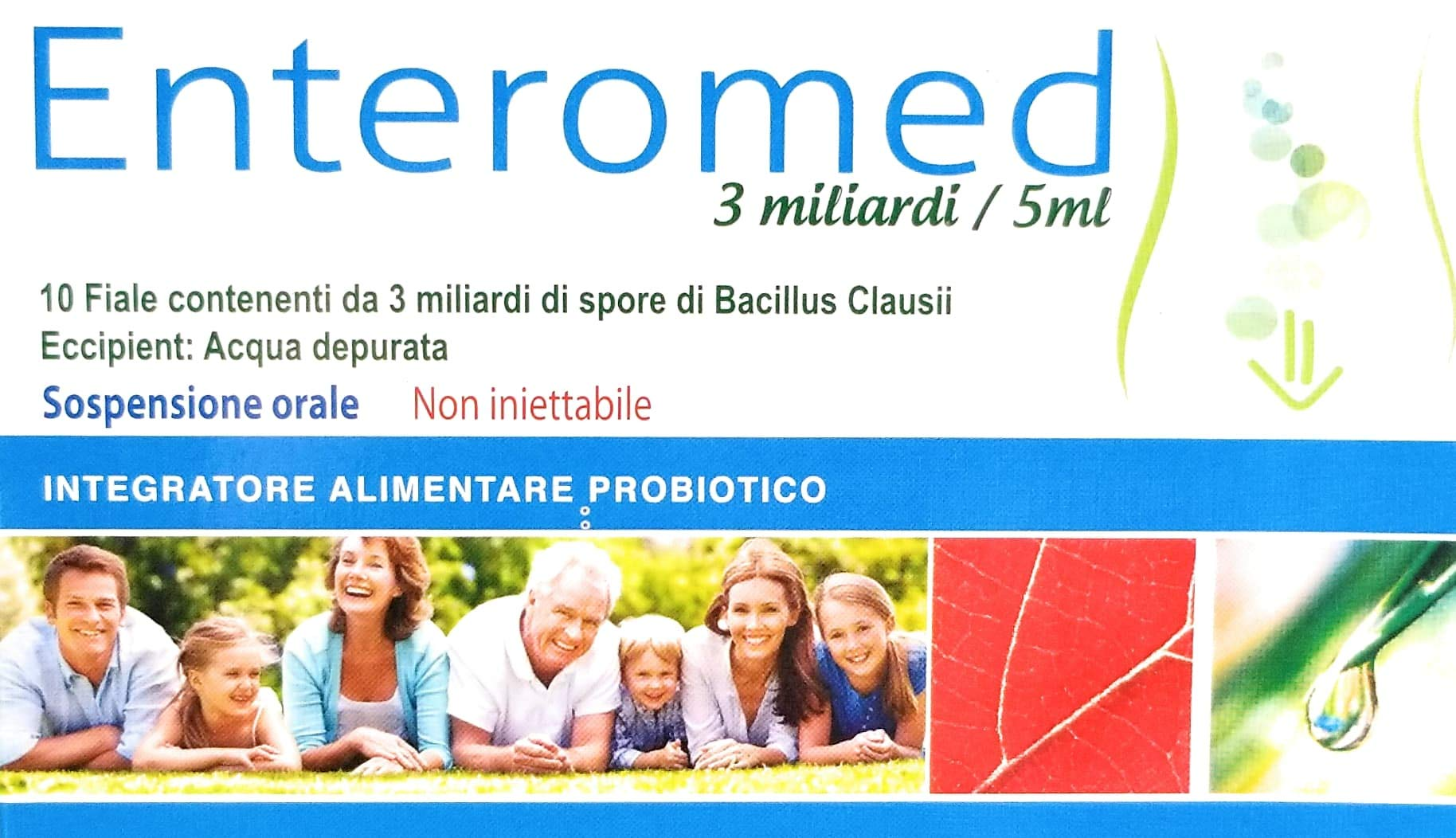 Enteromed, Ultimate Probiotic of 3 Milliards Live Spores of Bacillus Clausii in vials of 5ml Single-use,10 vials, Improve Digest Health, Boost Immunity, Prevent Diseases, Slows ageing. by ION Pharmaceutical