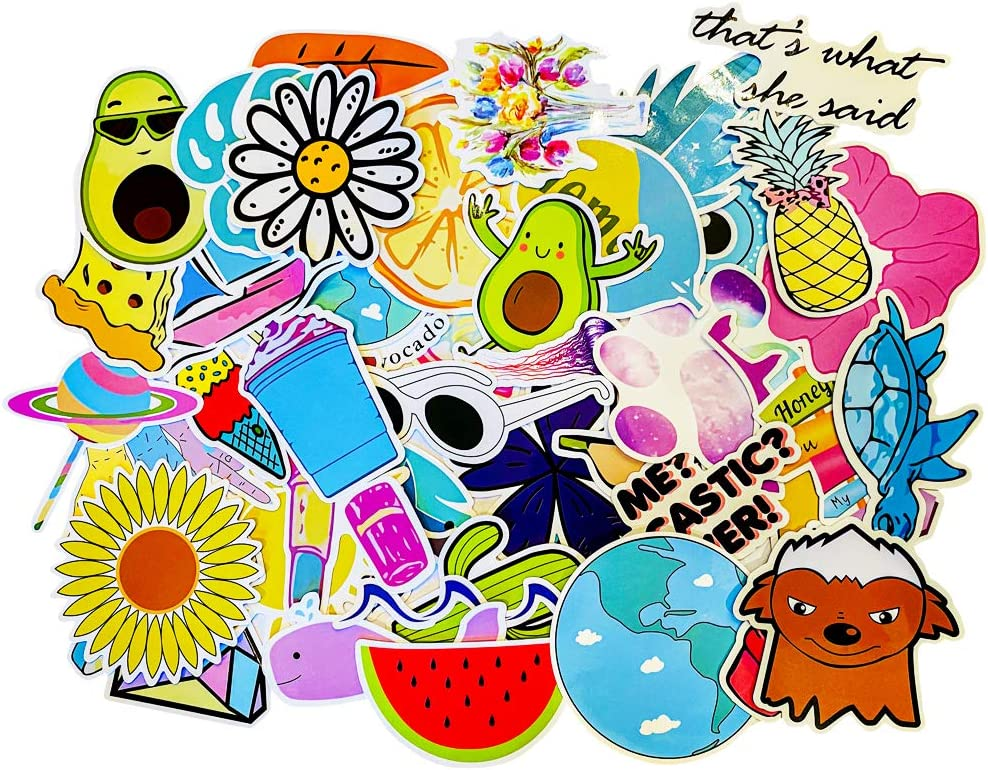 Stickers for Hydroflasks, VSCO Girls Stuff, Waterproof Cute Trendy Stickers for Water Bottle, Laptop, Phone Case, Skateboard, Travel, Durable Vinyl Perfect for Kids, Girls, Teens (50 Pack)