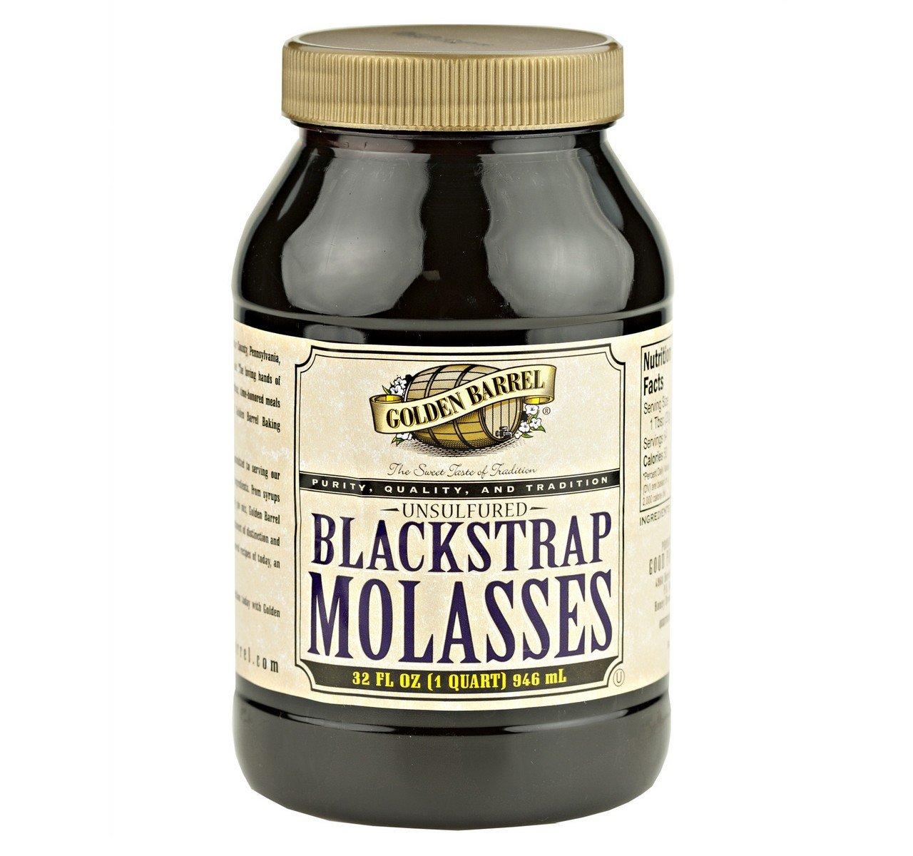 Golden Barrel Unsulfured Black Strap Molasses, 32 Oz. Bottle (Pack of 2)