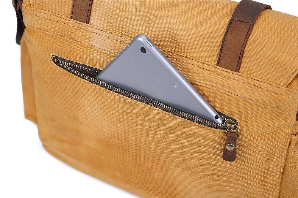 Genda 2Archer Mens Canvas Vintage Leather DSLR SLR Camera Messenger Bag