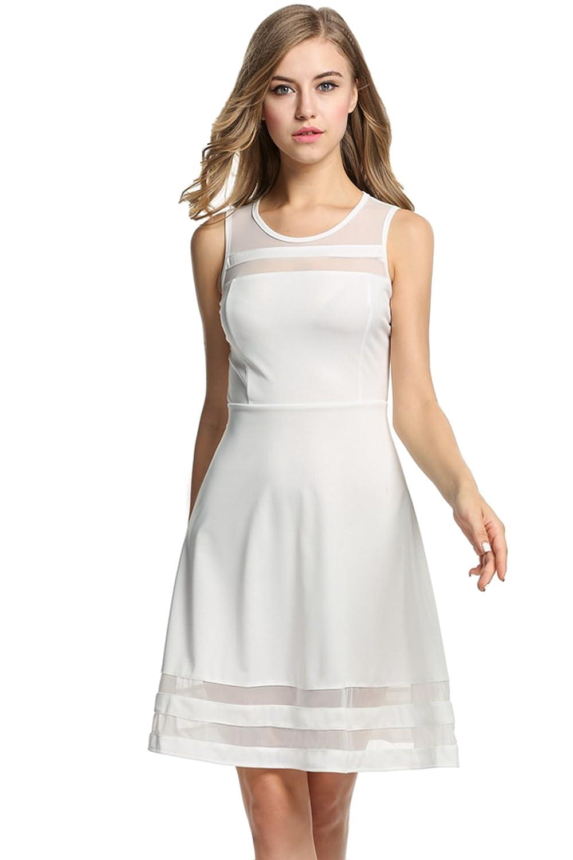 HOTOUCH Damen Sommerkleid Ä rmellos mit Mesheinsatz Elegant Partykleid Kurz Knielang Kleid A Linie GMH005118