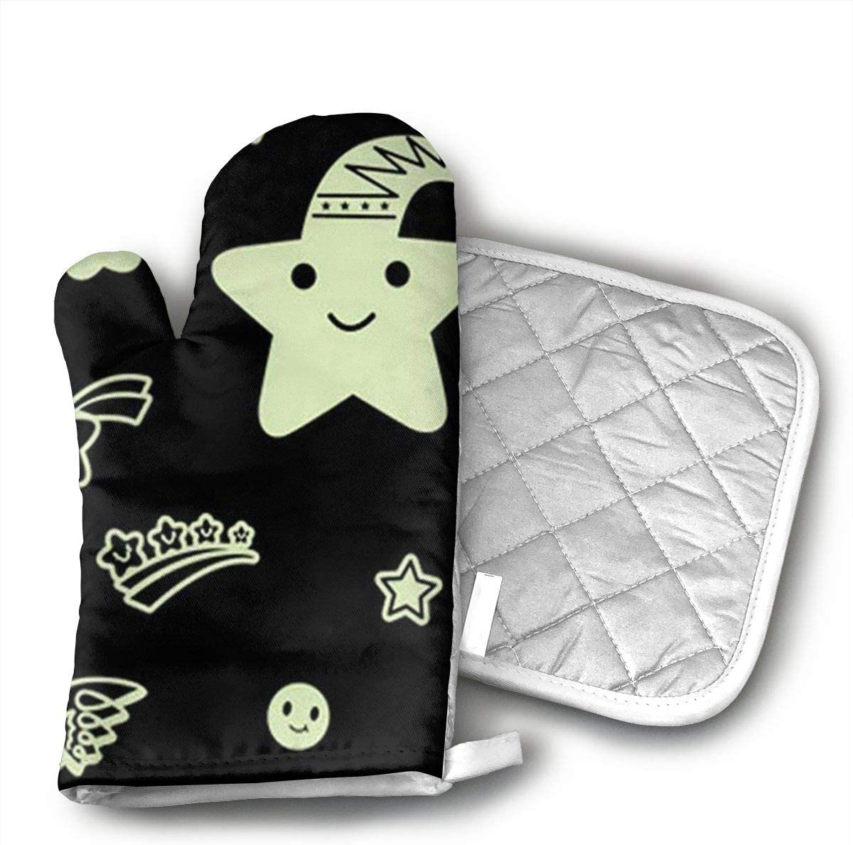 LUENO Glow in The Dark Art Moon Star Oven Mitts Professional Heat Resistance Kitchen Oven Soft Cotton Gloves for Grilling Cooking Microwave BBQ Baking