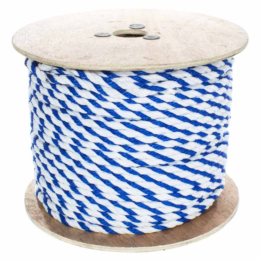 West Coast Paracord Twisted Polypropylene Pool Rope - 3 Strand Polypro Cord - Lightweight Utility Rope for Safety Lines, Pool Lanes - Blue and White (1/2 Inch x 200 Feet)