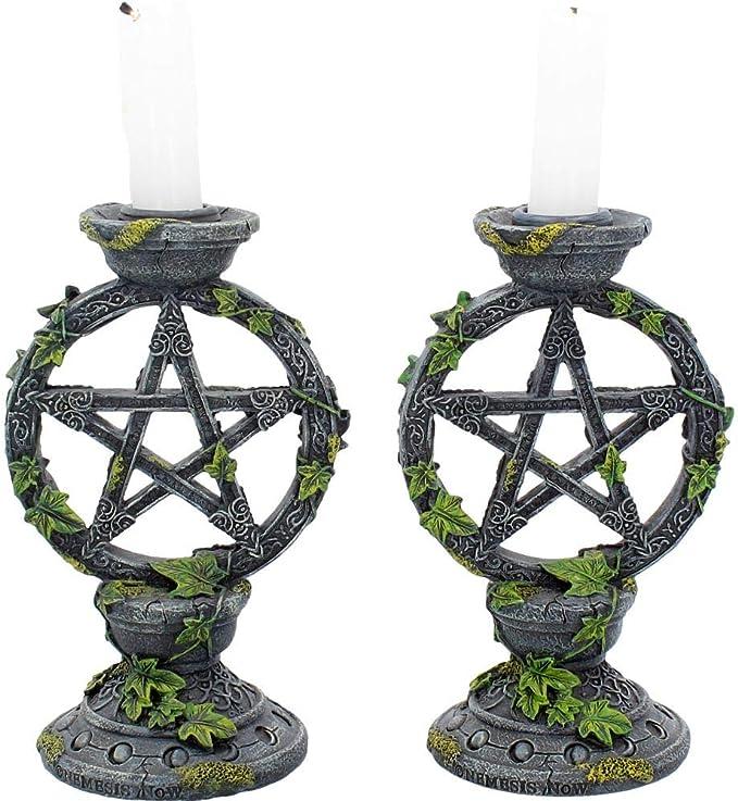 Nemesis Candle Holders Aged Pentagram Dark Grey 13cm
