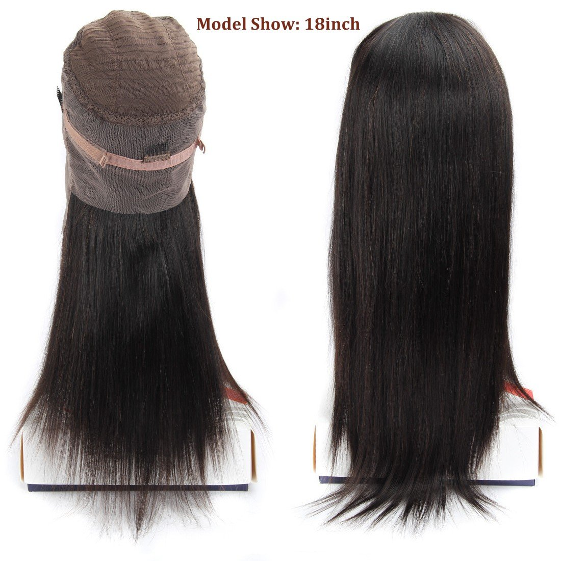 360 Frontal Lace Wig Straight 360 Lace Front Human Hair Wigs Peruvian Virgin 360 Lace Frontal Wig 130% Density with Pre Plucked Natural Hairline Baby Hair 360 Degree Lace Human Hair Wig (14inch) by QUEENA (Image #2)